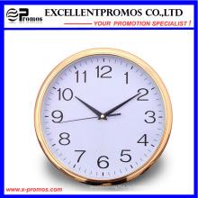Золотая рамка Печать логотипа Круглые пластиковые настенные часы (Item12)