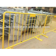 1 barrière de barrière de barricade en métal, garde de foule de barrière de trafic, barrière de barre de v-pied, barrière de piéton