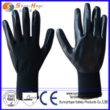13g nylon smooth finish black nitrile palm glove
