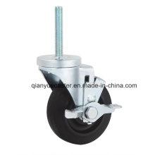 Roda lateral do carrinho de transporte de freio lateral, 125mm