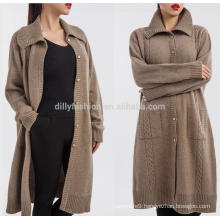 Half long design 100% mongolian cashmere coat for women