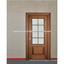 2017 Neues Design Luxus Walnuss Holz Innenverglasung Tür