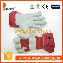 Cow Split Leather Gloves with Full Palm Red Cotton Drill Back Gloves