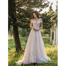 Vintage quinceanera dresses off-shoulder sheer bottom evening lace dresses