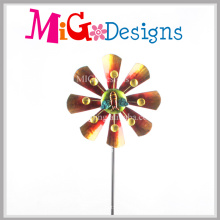 Attractive Metal Flower Wind Spinner Yard Stake