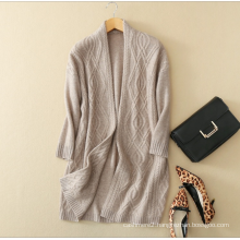 Ladies' pure cashmere knitting overcoat solid color V neck for winter