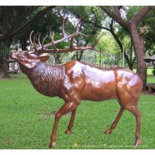estatua de jardín de alces de bronce