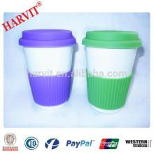 Venta al por mayor de cerámica Travel Mug silicona manga tapa