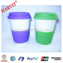 Wholesale Ceramic Travel Mug Silicone Sleeve Lid