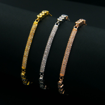 China for Copper Cz Bracelet For Women Rhinestone Zircon Brass Gold Plated Bracelet For Women supply to South Korea Factories