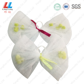 Bowknot mesh facial washing with little sponge