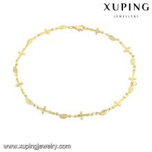 74484-xuping moda dubai jóias de ouro, 14 k ouro cruz pulseira tornozeleira, jóias de ouro tornozeleira