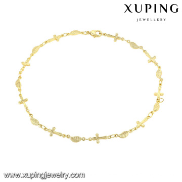 74484-xuping fashion dubai gold jewelry,14k gold cross anklet bracelet, gold anklet jewellery