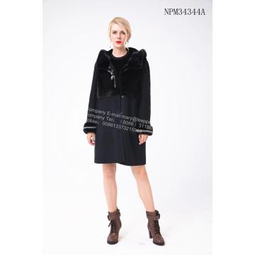 Australien Merino Shearling Coat With Mink Flower