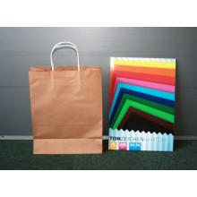 Bolsas de regalo de papel de Kraft de papel con manijas de papel retorcidas