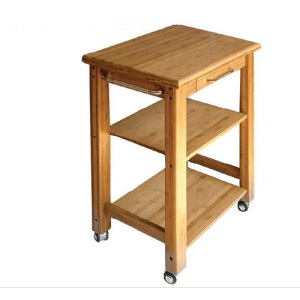 3-Tier bamboo serving cart with drawers