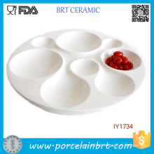 Wholesale High White Ceramic Irregularity Fruit Candy Plate