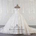 Vestidos de boda al por mayor del hombro al por mayor con el vestido de bola largo del tren