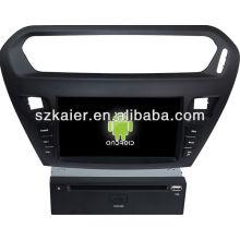 Leitor de dvd do carro do sistema de Android para Peugeot 301 com GPS, Bluetooth, 3G, iPod, jogos, zona dupla, controle de volante