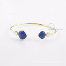 Lapis Gemstone Gold Bangle, Beautiful Rainbow Moonstone Bangle para mulheres