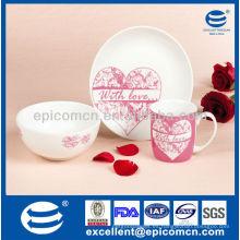 Set de desayuno de porcelana de 3 piezas para San Valentín BC8024