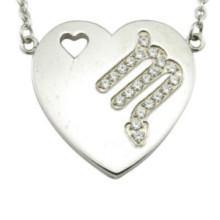 Edelstahl Herz Anhänger Zodiac Halskette Designs