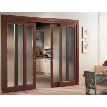 Аккуратные раздвижные стеклянные деревянные двери