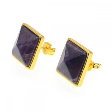 Amethyst Craved Pyramid Stud Earrings