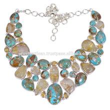 Collier Argent Artisan avec des bijoux en pierres turquoise, Citrine et Rutile d'or