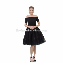 New Sexy Casual Black Color Off-Shoulder Puffy Evening Dress Short