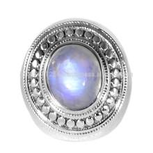 Natürlicher Regenbogen-Mondstein-Edelstein mit Sterlingsilber-handgemachter entworfener Ring-Schmucksachen