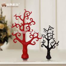 Decorativa regalo de promoción decoración de la casa de la vendimia negro rojo figura forma de resina de árbol