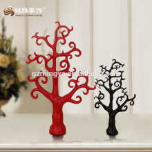 Decorative promotion gift vintage home decor red black tree shape resin figure