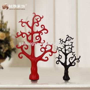Cadeau de promotion décoratif Décor de maison vintage Red Black Tree forme résine figure
