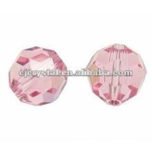 Vidro facetado redondo Beads, contas de vidro, contas redondas rosa