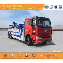 FAW 6x4 double hoist crane wrecker truck