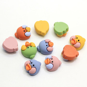 A granel 100Pcs Animal Bird Duck Chick Head Cabochons Flatback Resin Animal Head Craft Slime Charms DIY Hair Band Accesorios