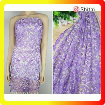 Purple flower embroidery lace fabric