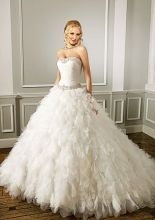 Ball Gown Scoop Strapless Yarn Cathedral Train Beading Ruffled Wedding Dress