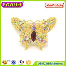Sparkle Custom Crystal Butterfly Brosche Goldbrosche mit Fabrikpreis