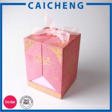 Caja de regalo rosa perfume terciopelo cinta rosa con logo dorado