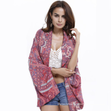 Fashion printing flowers beachwear cardigan women cover up polyester beach pareo