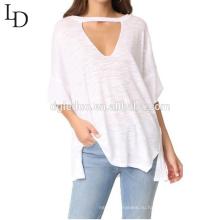 Оптовая бамбука случайные свободные короткий вырез рукав женщин футболка