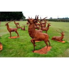 decoraciones de jardín al aire libre estatua de ciervos de hierro fundido de metal artesanal