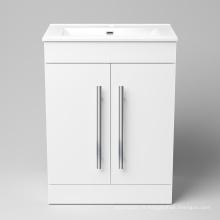 Élégant meuble de toilette en bois massif laqué blanc