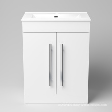 Elegant white lacquer solid wood bathroom vanity cabinet