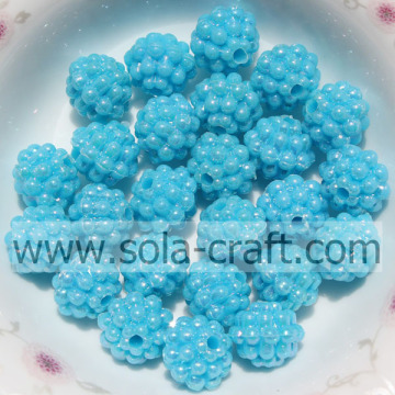 Turquoise Color Solid Plastic Berry Beads For DIY Bracelet