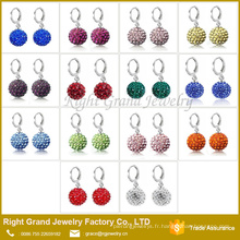 Acier inoxydable chirurgical Birthstone Shamballa Disco Ball Hoop Drop boucles d'oreilles
