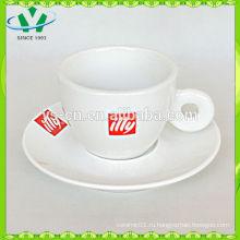 Фабрика сразу белая керамическая чашка и блюдце