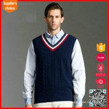 2017 Nuevo chaleco del suéter de los uniformes escolares del puente del mens del knit del cable del diseño